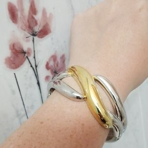 High Polished Silver Color Bangle Bracelet